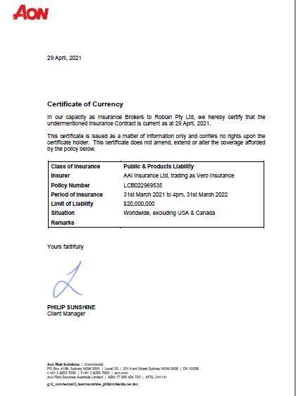 insurance 2021 Certificate